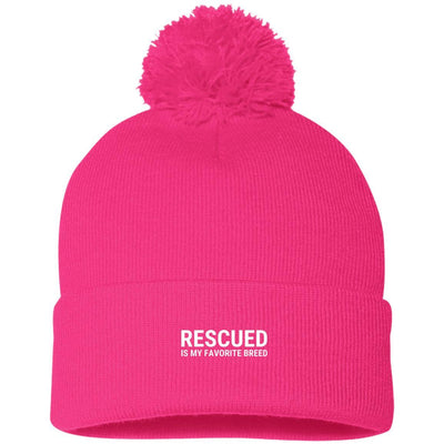 Rescued Is My Favorite Breed Knit Pom Beanie