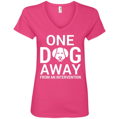 One Dog Away From An Intervention V-Neck Tee