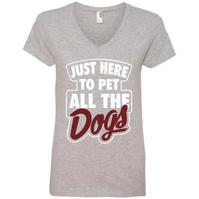 Just Here To Pet All The Dogs V-Neck Tee