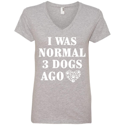 I Was Normal 3 Dogs Ago V-Neck Tee
