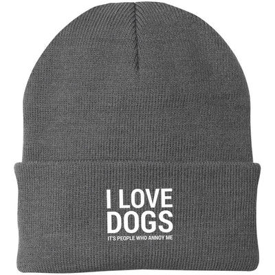 I Love Dogs, It's People Who Annoy Me Knit Beanie