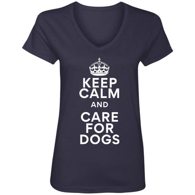 Keep Calm And Care For Dogs V-Neck Tee