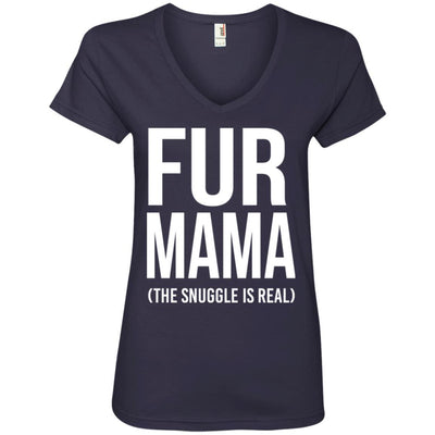 Fur Mama The Snuggle Is Real V-Neck Tee