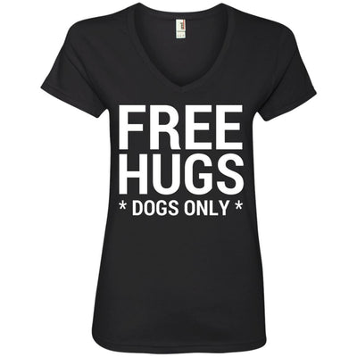 Free Hugs Dogs Only V-Neck Tee