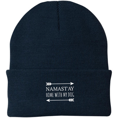 Namast'ay Home With My Dog Knit Beanie