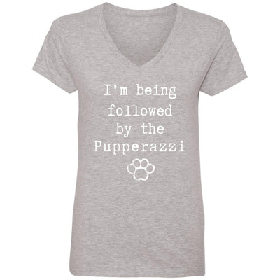 I'm being followed by the Pupperazzi V-Neck Tee
