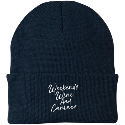 Weekends, Wine And Canines Knit Beanie