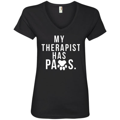 My Therapist Has Paws V-Neck Tee