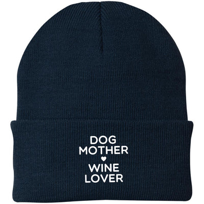 Dog Mother Wine Lover Knit Beanie