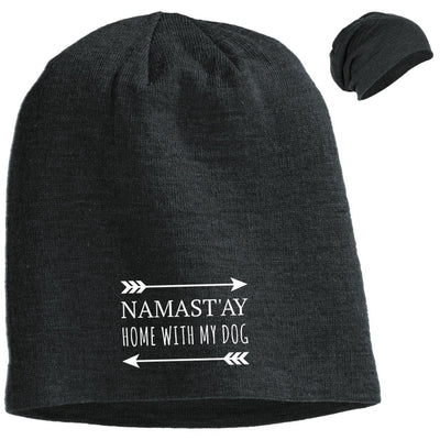 Namast'ay Home With My Dog Slouchy Beanie