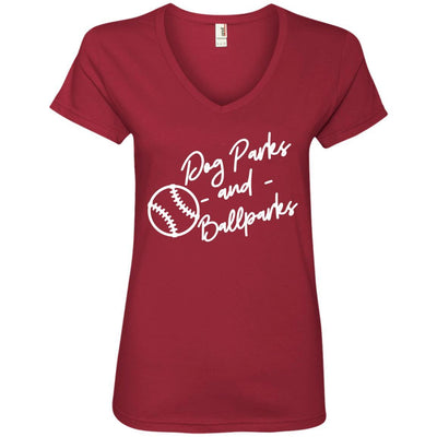 Dog Parks And Ballparks V-Neck Tee