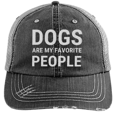 Dogs Are My Favorite People Hat Distressed Trucker Cap