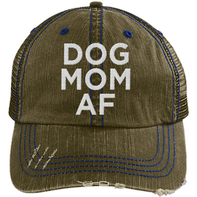 DOG MOM AF DISTRESSED TRUCKER HAT
