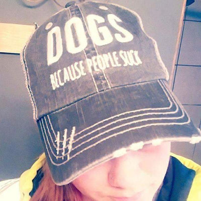 DOGS BECAUSE PEOPLE SUCK DISTRESSED TRUCKER CAP