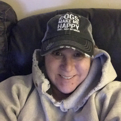 DOGS MAKE ME HAPPY DISTRESSED TRUCKER CAP