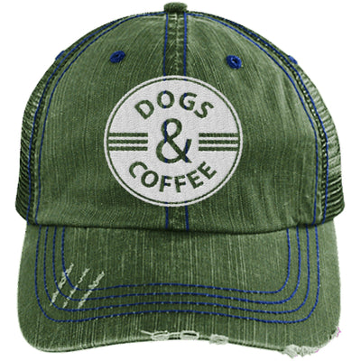Dogs & Coffee Distressed Trucker Cap