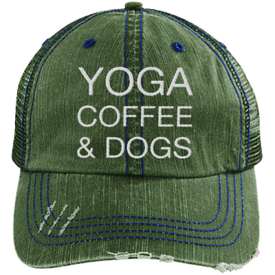 Yoga Coffee & Dogs Distressed Trucker Cap