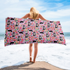 Border Collie Floral Beach Towel