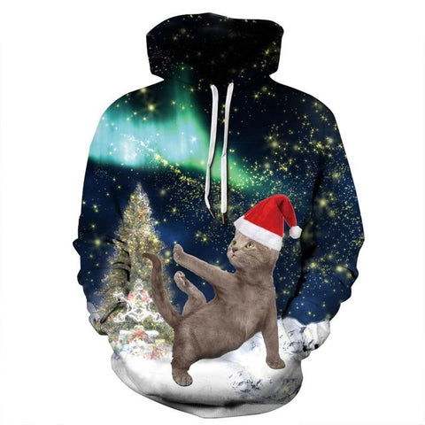 Cat in the snow - xmas hoodie