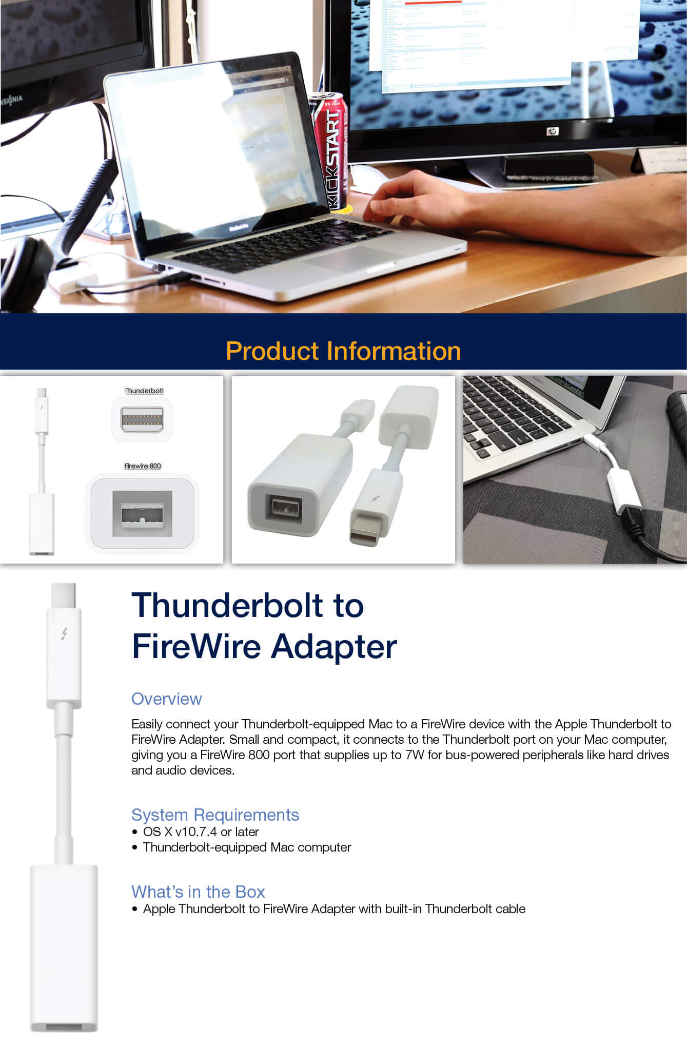 APPLE Mac Accessories | Apple Thunderbolt to FireWire Adapter ...