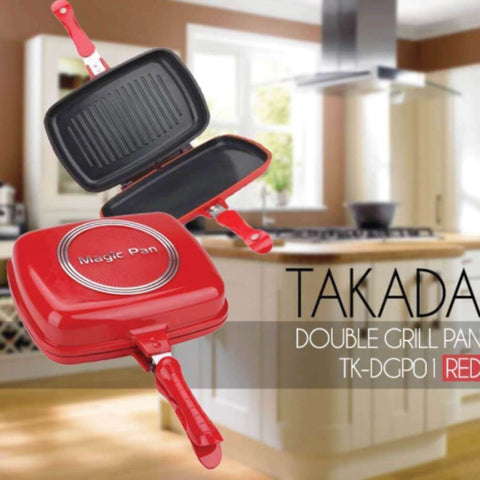 Image of TAKADA TK-DGP01 Ceramic Magic Grill Pan Red - almaxpress