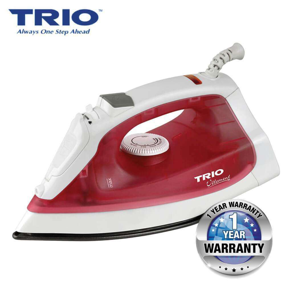 TRIO TISB-127 Steam Iron Non-stick Soleplate – Red