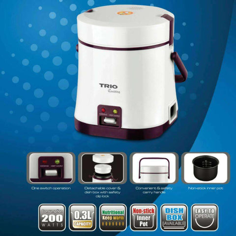 TRIO TJC-030 Rice Cooker with Detachable Cover and Non-stick Inner pot – 0.3L