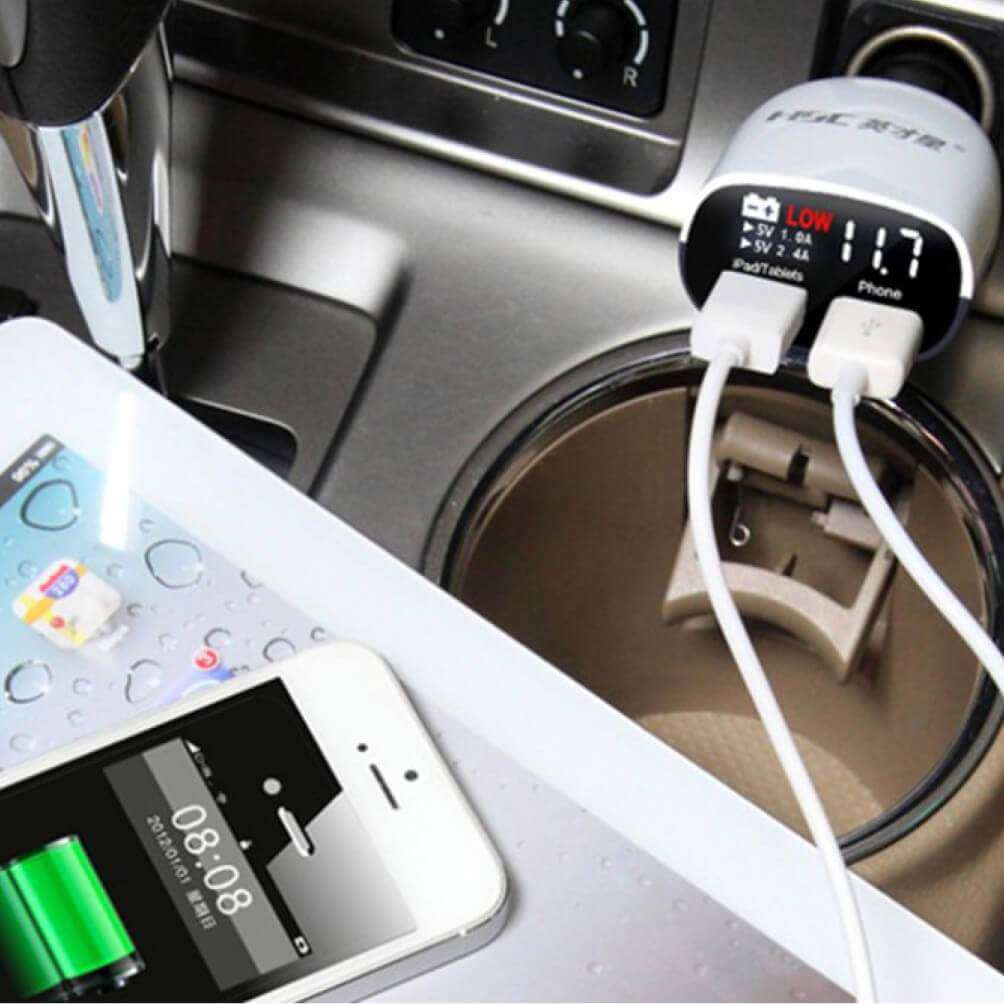 HSC YC-01 Intelligent Car Charger with Volt Meter - almaxpress