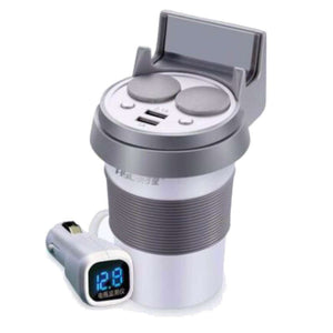 HSC YC-20 Car Charger Cup Dual USB Ports Dual Cigarette Lighter Sockets Power Adapter - White