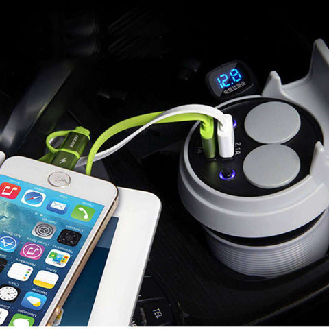 HSC YC-20 Car Charger Cup Dual USB Ports Dual Cigarette Lighter Sockets Power Adapter - White - almaxpress