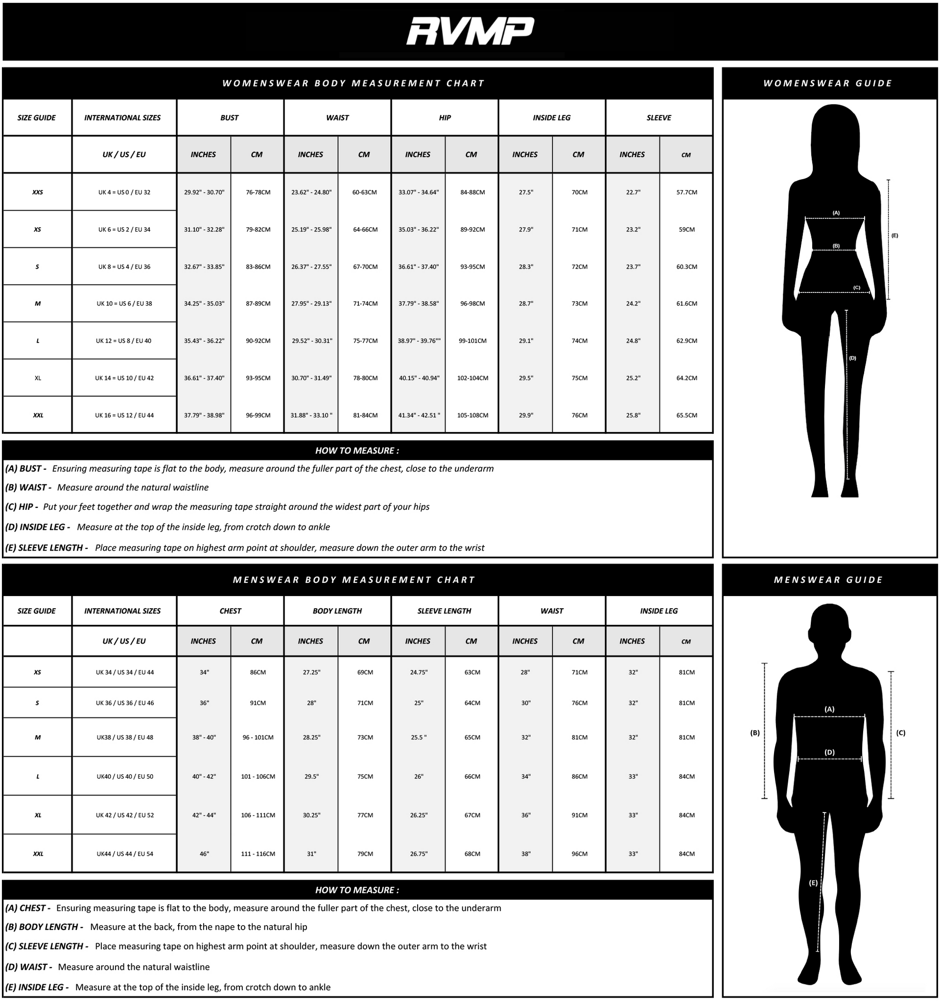 RVMP Size Guide