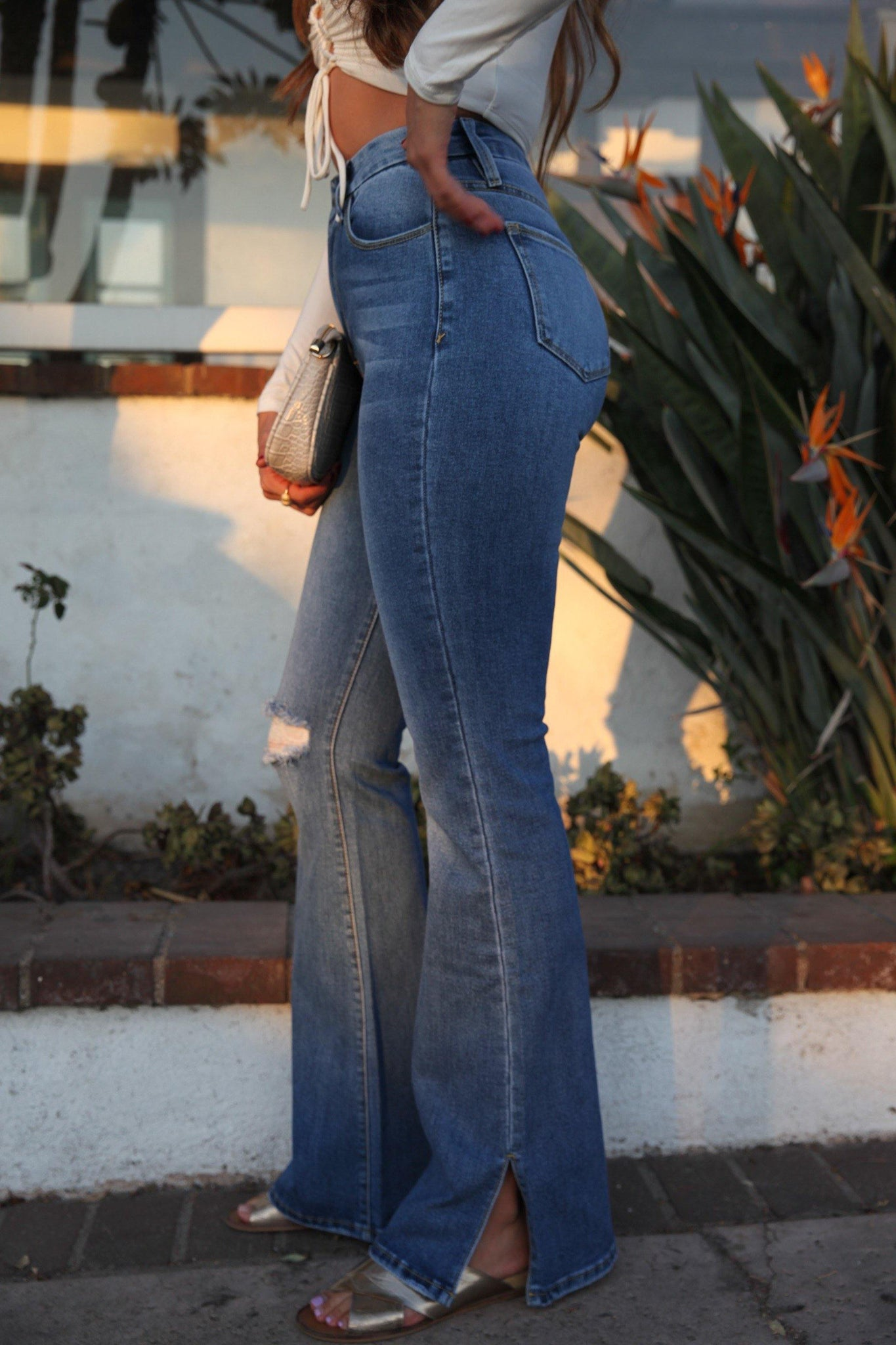 Dogma Side Slit High Rise Flare Jeans - DG7038FD