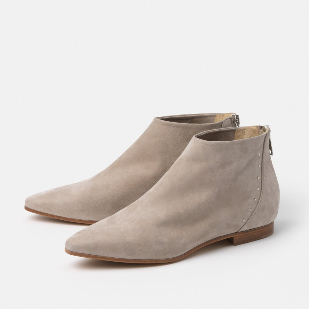 The Beatricia Taupe Suede Flat Bootie
