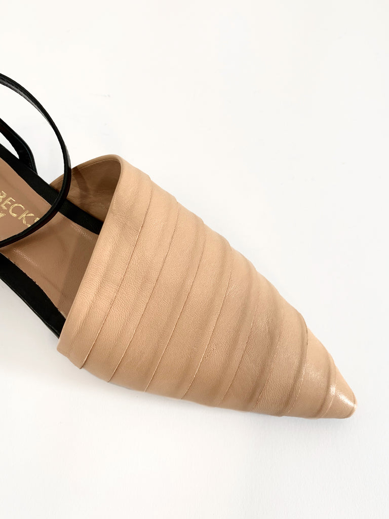 Blush/Black Ankle Wrap Flat - Sample Size 37