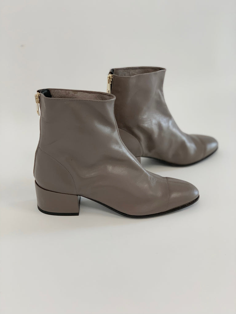 Round Toe Unlined Bootie Mink - Sample Size 37