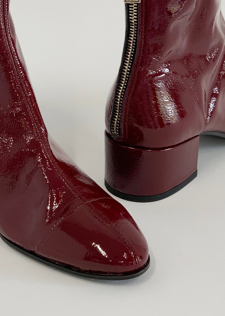 Round Toe Unlined Bootie Red Patent - Sample Size 37