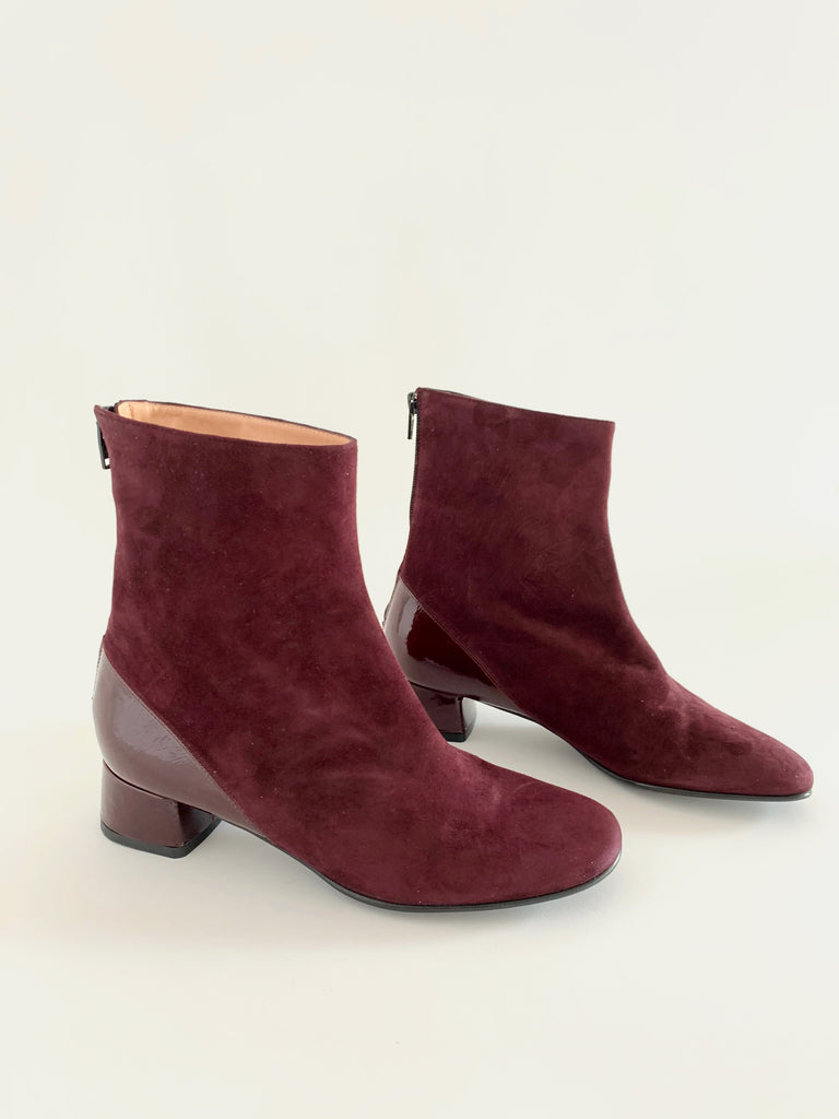 Burgundy Almond Toe Bootie - Sample Size 37