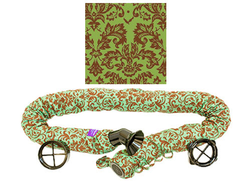 Rear Facing Chocolate on Green Damask