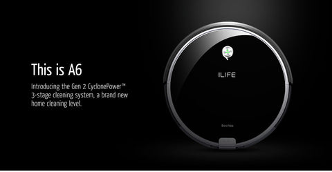 ILIFE A6 Robotic Vacuum Cleaner with Piano Black - £250.00