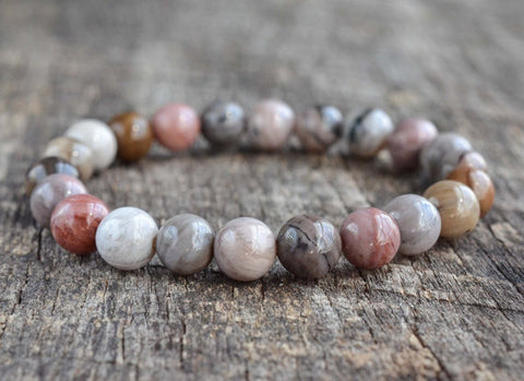 Petrified Wood Beaded Bracelet • Gemstone Bracelet • Yoga Bracelet • Womens / Mens Bracelet - ShahShack