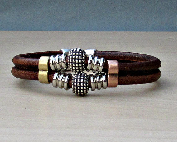 Beaded Leather Antique Silver Plated Bracelet For Men - ShahShack