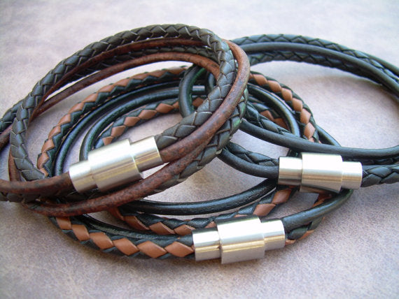 Mens  Leather Bracelet,Stainless Steel Magnetic Clasp,Mens Bracelet, Mens Jewelry, Leather Bracelet, - ShahShack