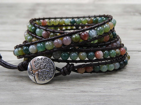 Leather Wrap India Agate bead bracelet women boho bead wrap bracelet leather gemstone natural stone - ShahShack
