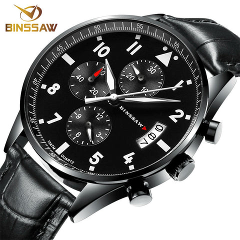BINSSAW Waterproof Authentic leather Super luminescent Quartz Sports Watch - £115.00