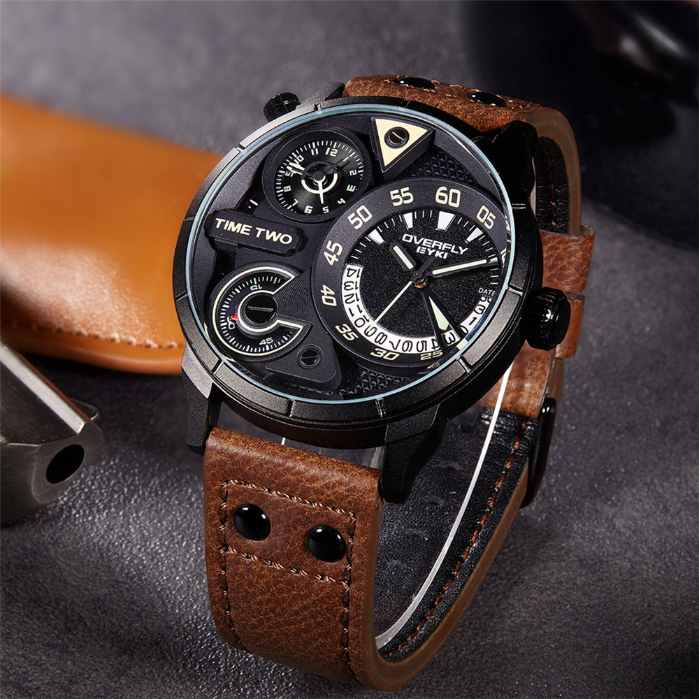 EYKI Mens Sport Watch 2017 Luxury Brand Male Clock Brown Leather Watchband - ShahShack
