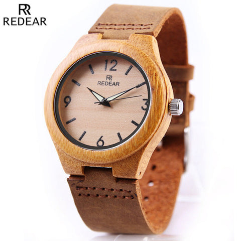 REDEAR Luminous Hands Men's Bamboo Wooden Watch - £25.00