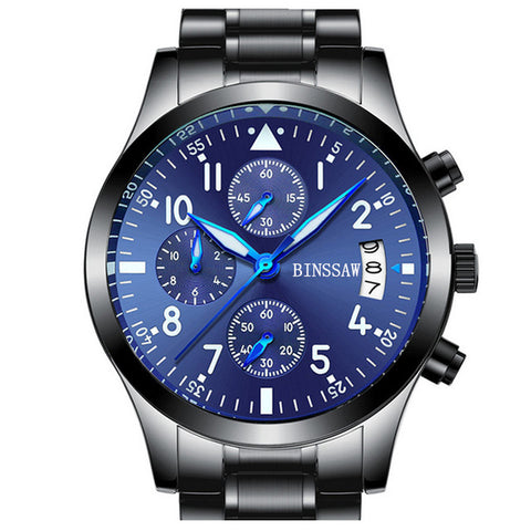 BINSSAW Quartz Stainless Steel Leather Waterproof Luminous Sports Watch - £50.00