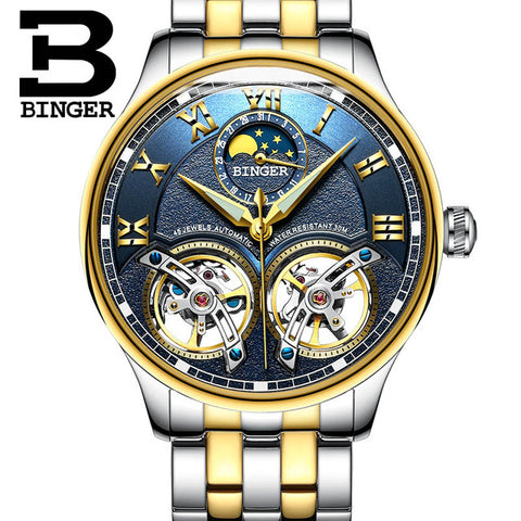 BINGER Tourbillion Men's Automatic Self-Wind Mechanical Wristwatch - £100.00