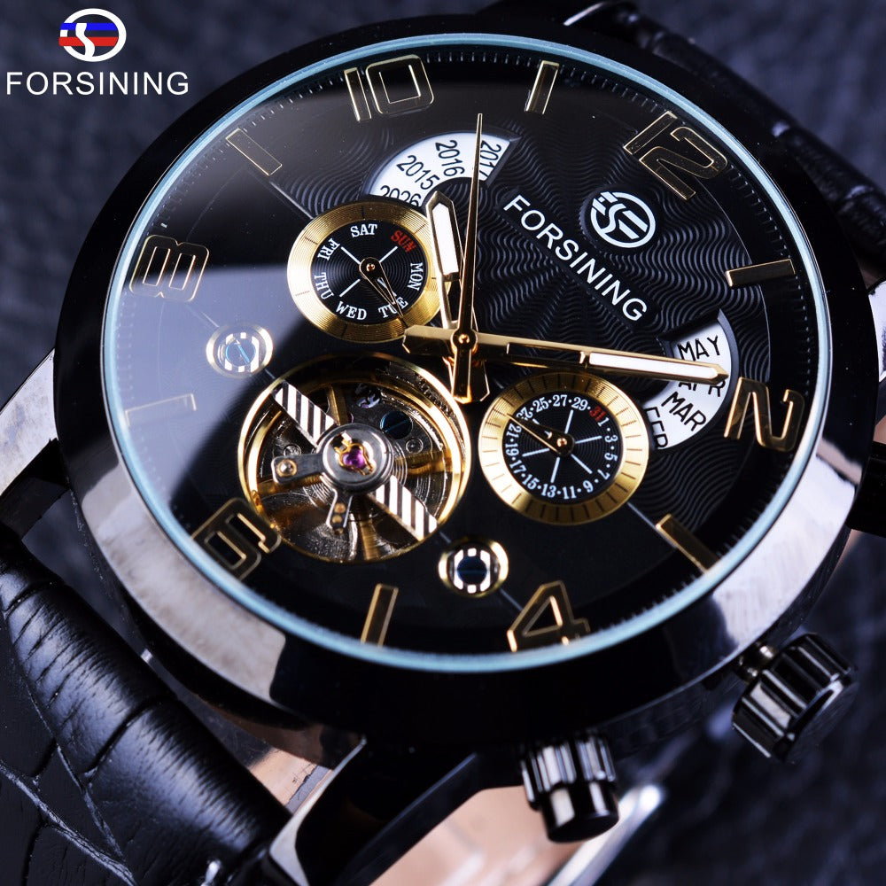 Forsining Tourbillion Wave Black Golden Multi Function Display Auto Mechanical Watch For Men - ShahShack