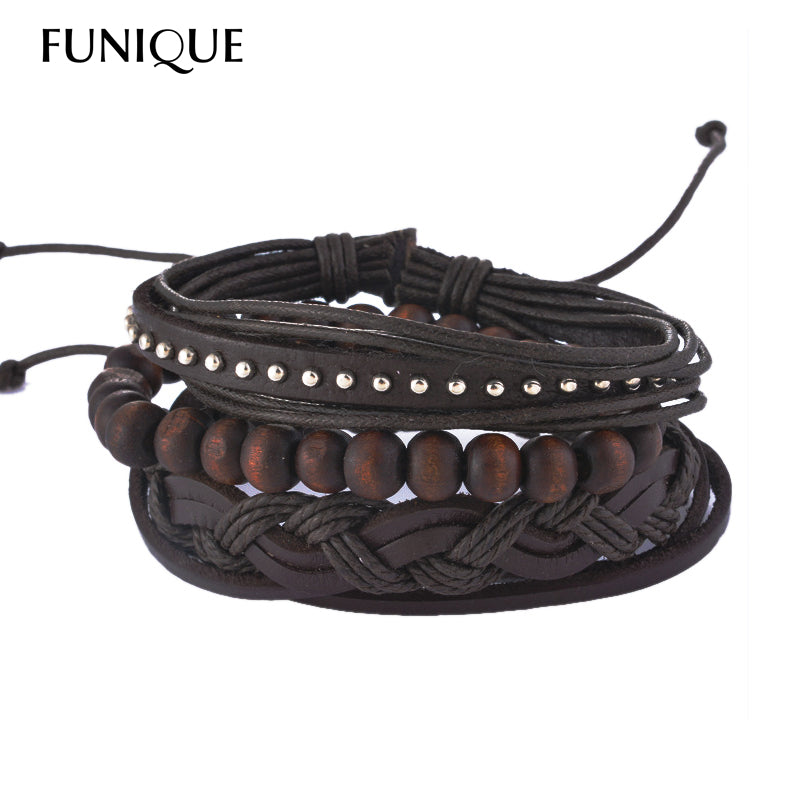 FUNIQUE Multilayer Casual Fashion Braided Leather Bracelets Wood Beads For Women/Men - ShahShack